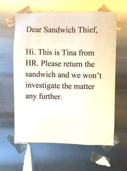 the office sandwich thief